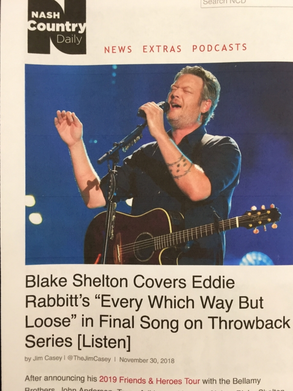 A trade report on Blake recording our song for his Friends and Heroes tour.