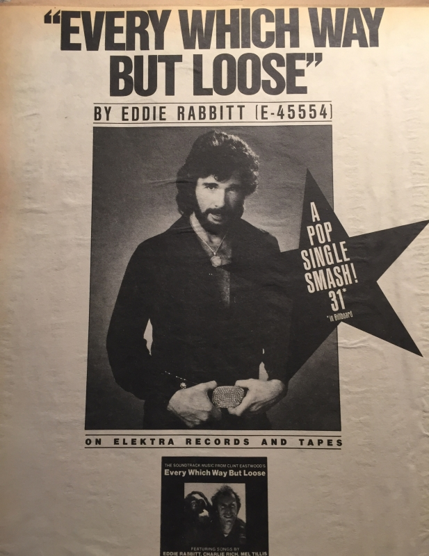 Not only did Eddie take our title song to a rapid #1 on the country charts, but it also climbed the pop charts.