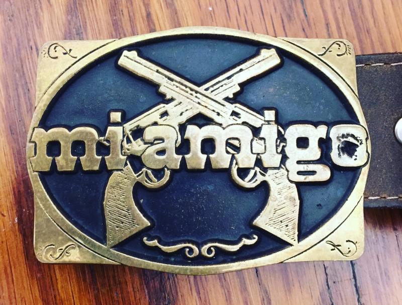 A belt buckle given to cast and crew after the release of our feature film,