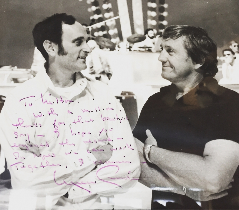 On set with Merv Griffin, who recorded a song Steve Dorff and I wrote for him.  He's probably best known for his still running TV game show,